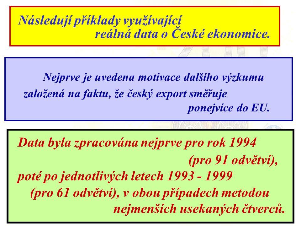 Následují příklady využívající reálná data o České ekonomice.