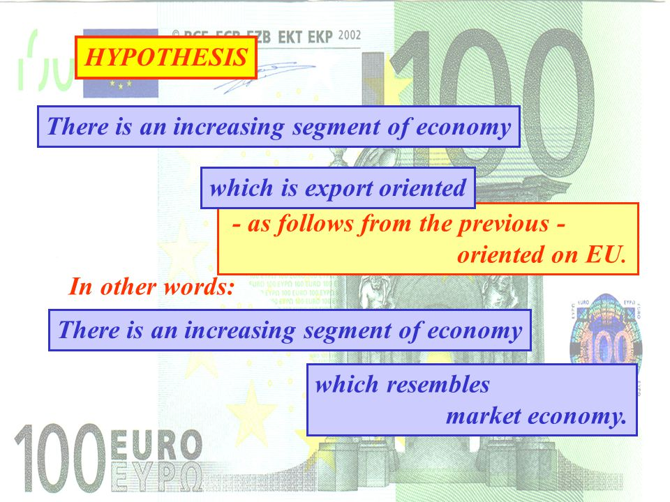 HYPOTHESIS There is an increasing segment of economy In other words: There is an increasing segment of economy - as follows from the previous - oriented on EU.