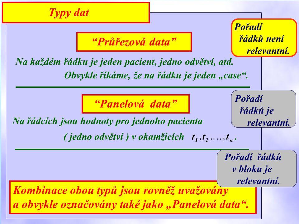 Průřezová data Na každém řádku je jeden pacient, jedno odvětví, atd.