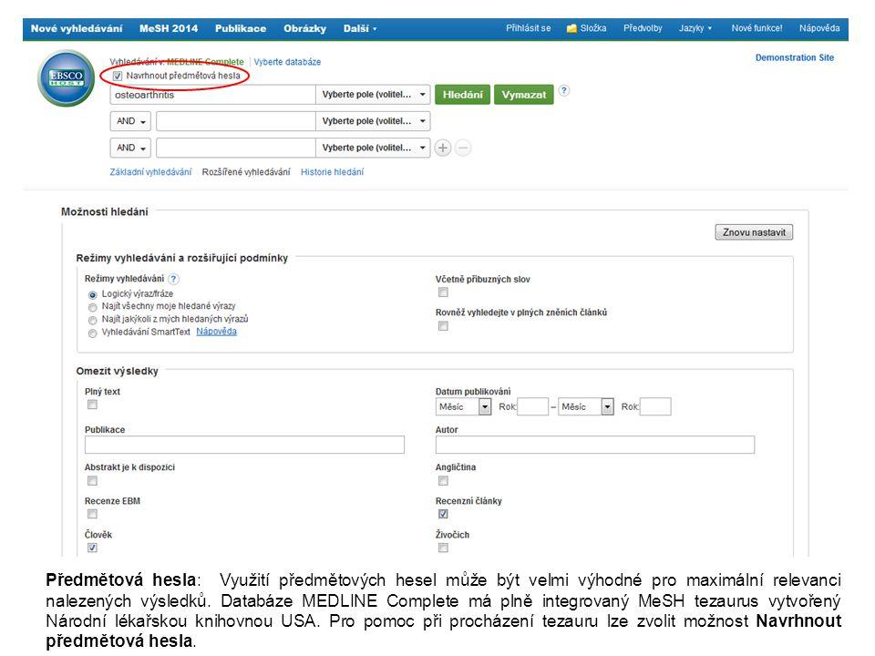 Předmětová hesla: Využití předmětových hesel může být velmi výhodné pro maximální relevanci nalezených výsledků.