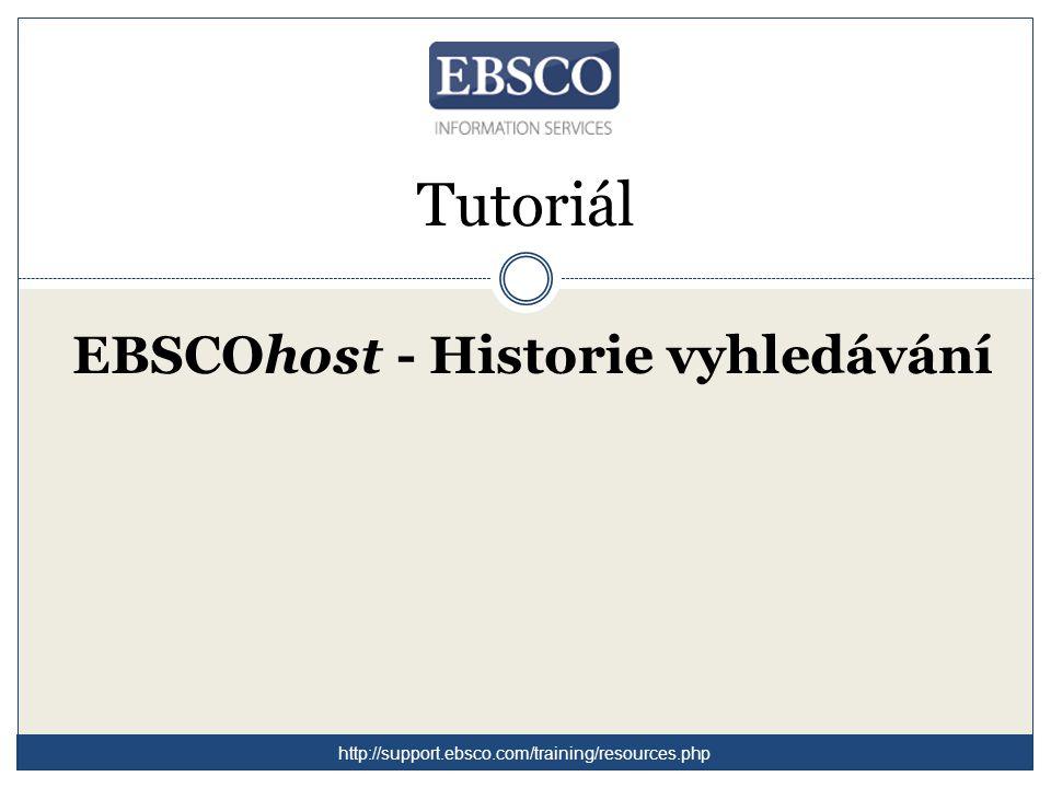 Vítejte v tutoriálu zaměřeném na funkci Historie vyhledávání na rozhraní EBSCOhost.