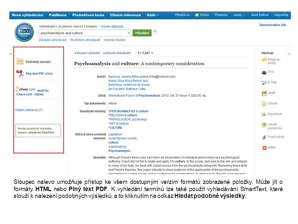 Sloupec nalevo umožňuje přístup ke všem dostupným verzím formátů zobrazené položky. Může jít o formáty HTML nebo Plný text PDF. K vyhledání termínů lz