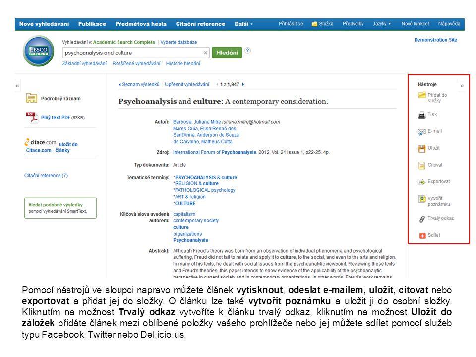 Pomocí nástrojů ve sloupci napravo můžete článek vytisknout, odeslat e-mailem, uložit, citovat nebo exportovat a přidat jej do složky. O článku lze ta