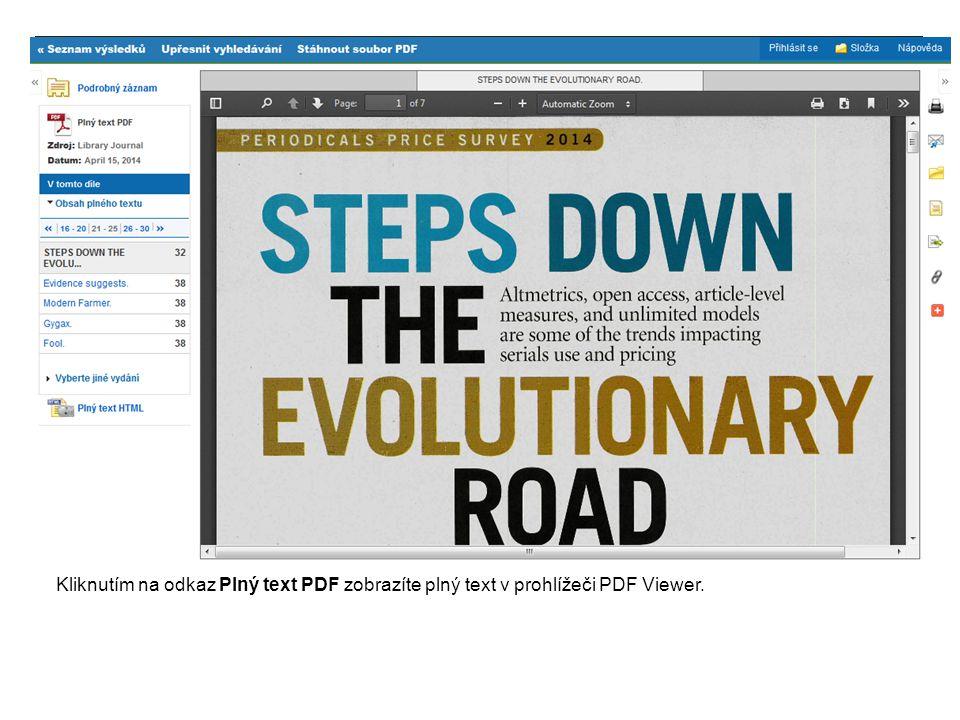 Kliknutím na odkaz Plný text PDF zobrazíte plný text v prohlížeči PDF Viewer.