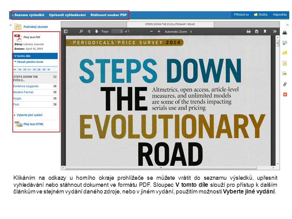 Klikáním na odkazy u horního okraje prohlížeče se můžete vrátit do seznamu výsledků, upřesnit vyhledávání nebo stáhnout dokument ve formátu PDF. Sloup