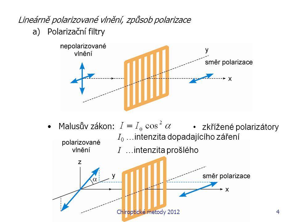 5 Lineárně polarizované vlnění, způsob polarizace b)Polarizace odrazem při odrazu dochází vždy k částečné polarizaci Brewsterův úhel – úhel dopadu, kdy odražený a lomený paprsek jsou kolmé → odražený paprsek je úplně polarizován