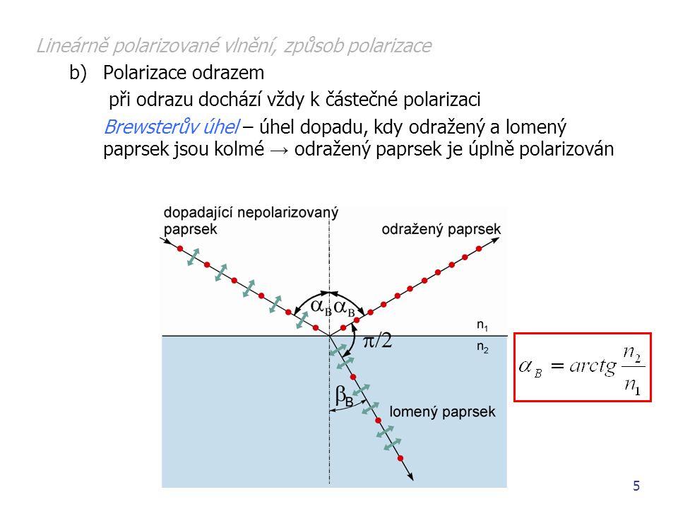 6 Lineárně polarizované vlnění, způsob polarizace c)Polarizace použitím dvojlomu anizotropní prostředí – vstupující paprsek v jiném směru než tzv.