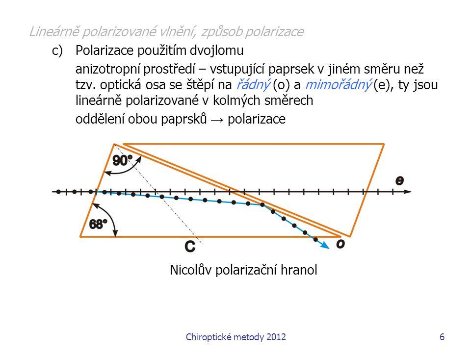 Chiroptické metody 201227 Chiroptické metody Spektroskopie cirkulárního dichroismu Obsah 1.Základní pojmy, teoretické základy, varianty metod 2.Elektronový a vibrační cirkulární dichroismus (ECD a VCD) - instrumentace