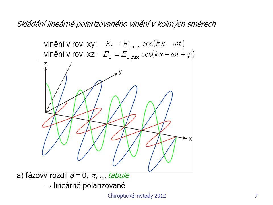 Chiroptické metody 201218 optická rotace: měření úhlu stočení roviny lineárné polarizovaného světla při průchodu opticky aktivním prostředím za standardních podmínek charakteristická veličina pokud vyjádřen jako [  ]=  / ( c l ) pro vlnové délku sodíkové čáry D (obvykle, ne nutně) – charakteristická fyzikální konstanta lze teoreticky spočítat vyvozování strukturních vlastností není prokazatelné optická rotační disperze  optická rotace v závislost na vlnové délce Až do komerčního rozvoje spektroskopie CD používaná k určení strukturních vlastností, hl.