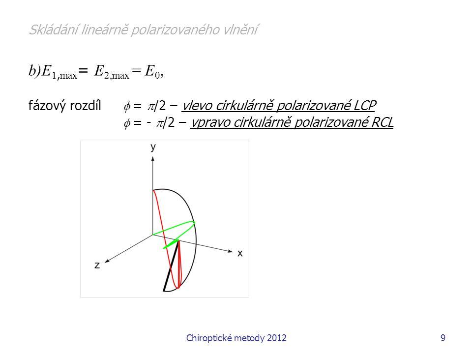 Chiroptické metody 201220 1.5 Varianty chiroptických metod cirkulární dichroismu: měření rozdílu absorbance  A= A L -A R dnes komerčně dostupné ve dvou spektraálních oborech – jako elektronový cirkulární dichroismus (ECD) a vibrační cikrulární dichrosimus (VCD), CD se míní většinou ECD, pozor taky cyklodextrin vztah mezi CD a ORD – Kramers –Kronigovy vztahy CD a ORD jsou lokálně nezávislé pro jednu frekvenci, ale ze znalosti jedné veličiny v dostatečně velkém intervalu mohu stanovit druhou veličinu 