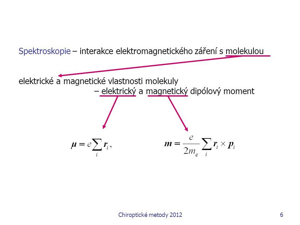 Chiroptické metody 20126 Spektroskopie – interakce elektromagnetického záření s molekulou elektrické a magnetické vlastnosti molekuly – elektrický a magnetický dipólový moment
