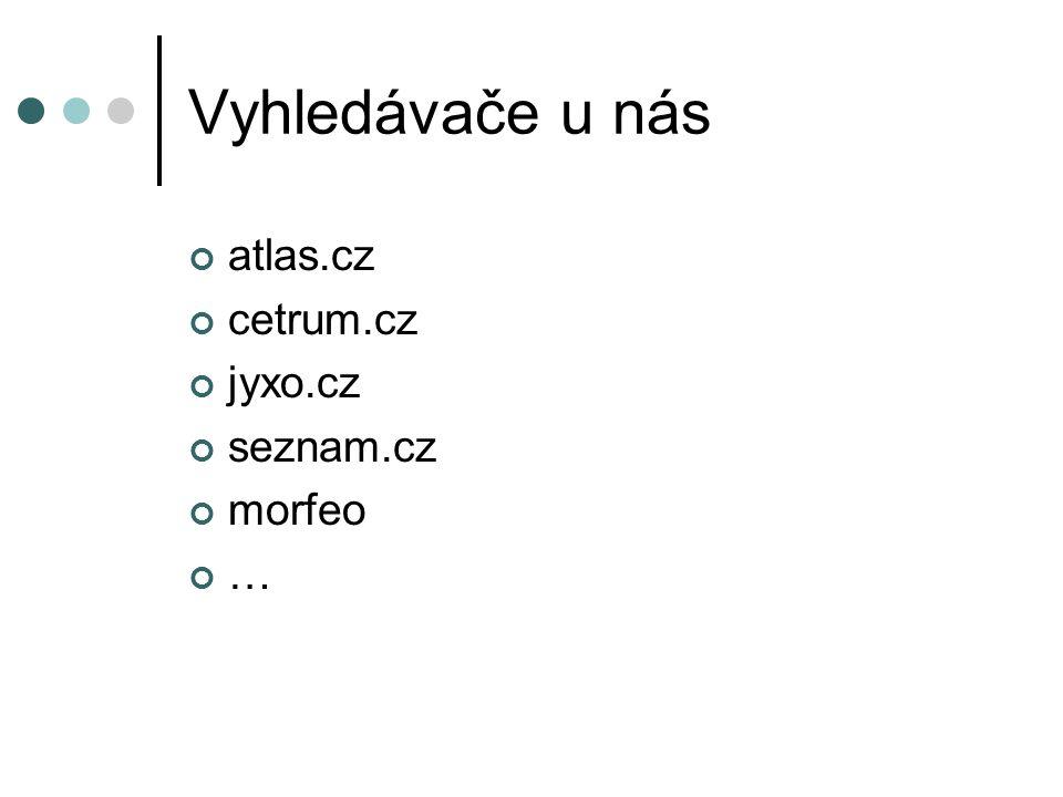 Vyhledávače u nás atlas.cz cetrum.cz jyxo.cz seznam.cz morfeo …