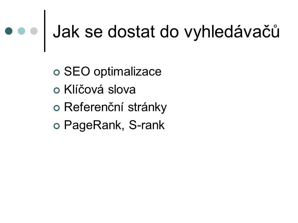 Jak se dostat do vyhledávačů SEO optimalizace Klíčová slova Referenční stránky PageRank, S-rank