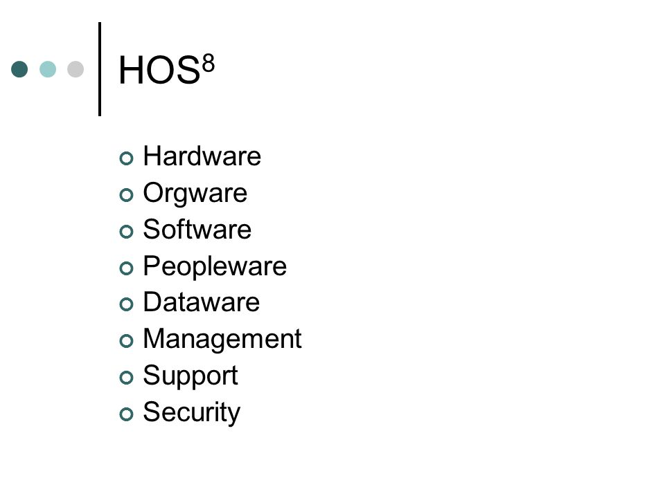 HOS 8 Hardware Orgware Software Peopleware Dataware Management Support Security