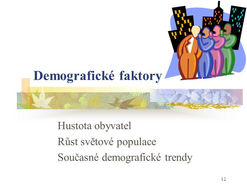 12 Demografické faktory Hustota obyvatel Růst světové populace Současné demografické trendy
