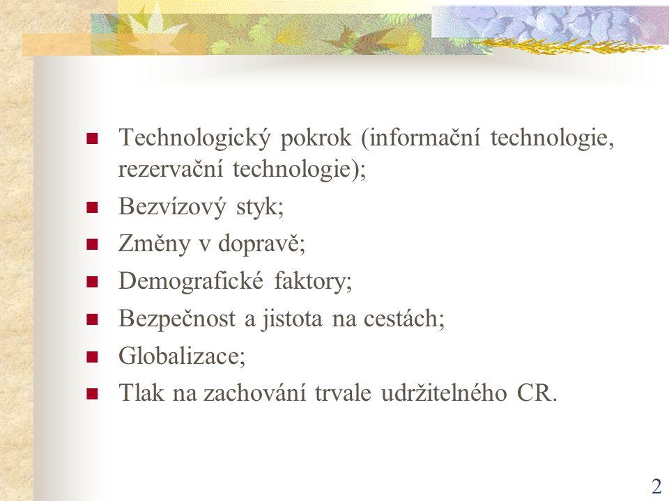 2 Technologický pokrok (informační technologie, rezervační technologie); Bezvízový styk; Změny v dopravě; Demografické faktory; Bezpečnost a jistota n