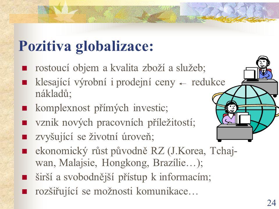 24 Pozitiva globalizace: rostoucí objem a kvalita zboží a služeb; klesající výrobní i prodejní ceny redukce nákladů; komplexnost přímých investic; vzn