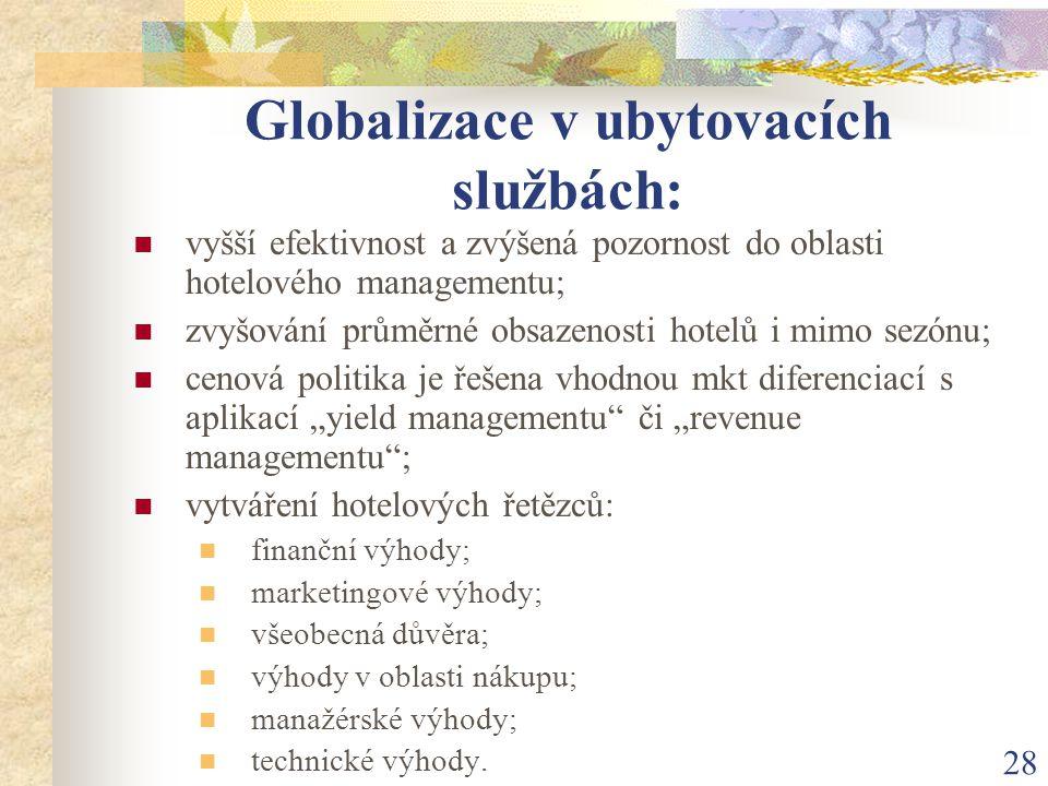 28 Globalizace v ubytovacích službách: vyšší efektivnost a zvýšená pozornost do oblasti hotelového managementu; zvyšování průměrné obsazenosti hotelů