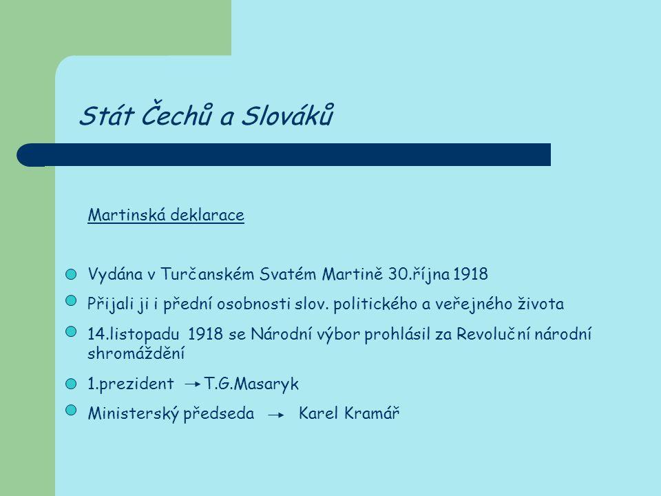 Stát Čechů a Slováků Martinská deklarace Vydána v Turčanském Svatém Martině 30.října 1918 Přijali ji i přední osobnosti slov. politického a veřejného