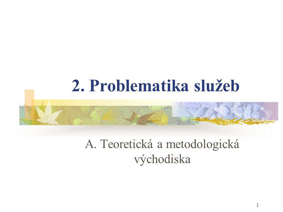 1 2. Problematika služeb A. Teoretická a metodologická východiska