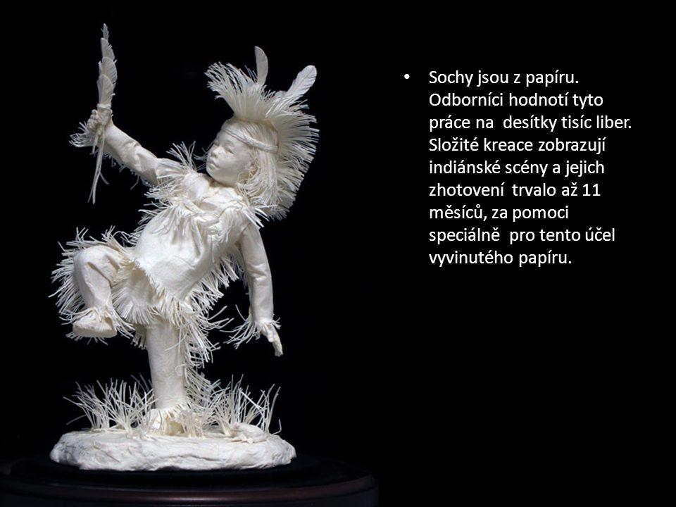 Sochy z indiánské scény vyrobené z papíru od: Allen a Patty Eckman Autor © Arie - texty z angličtiny volně přeložil franc29@seznam.cz