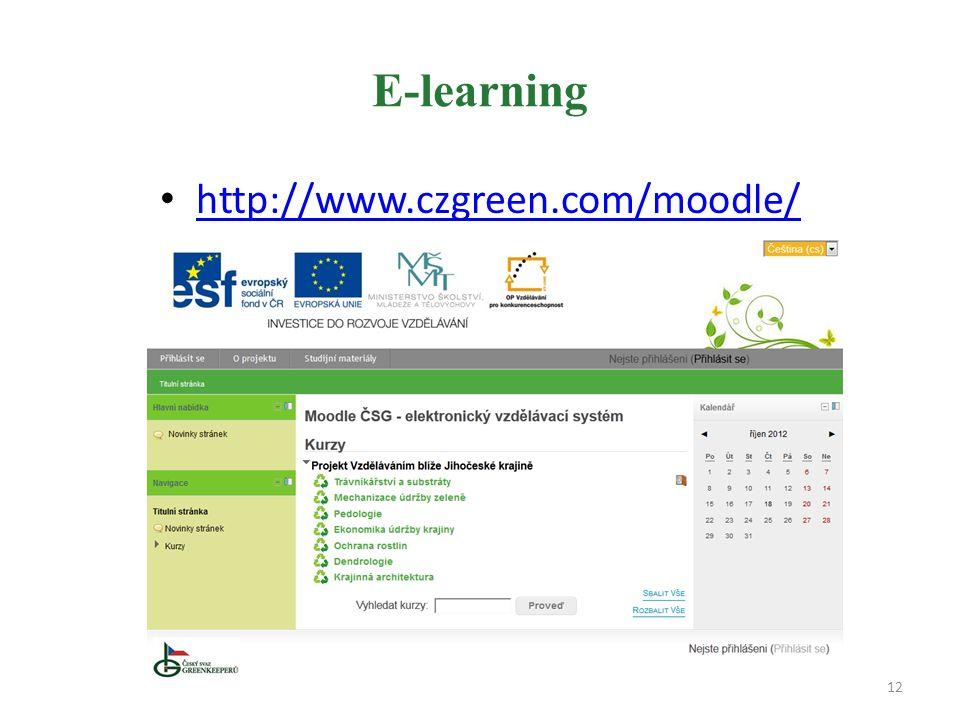 E-learning http://www.czgreen.com/moodle/ 12