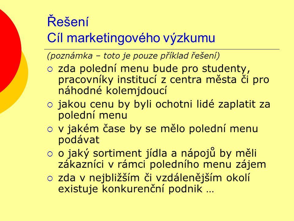 Řešení Cíl marketingového výzkumu (poznámka – toto je pouze příklad řešení)  zda polední menu bude pro studenty, pracovníky institucí z centra města