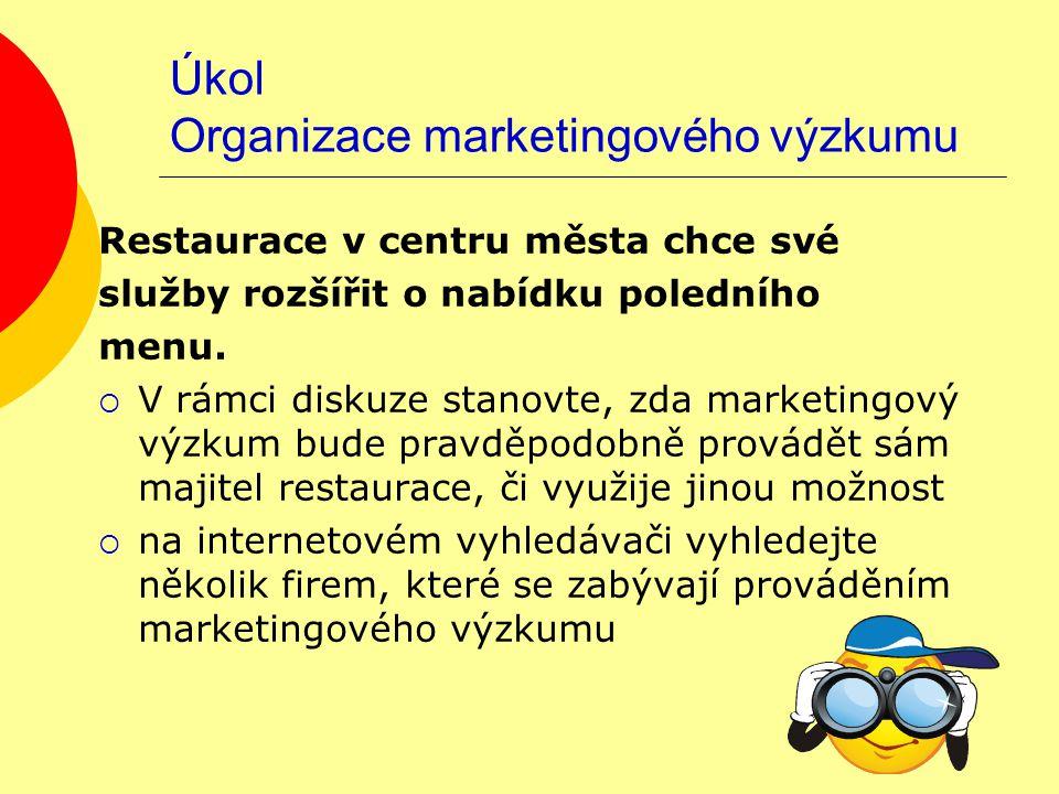 """Řešení Organizace marketingového výzkumu toto je pouze příklad řešení  pravděpodobně si provede výzkum majitel sám  v Google odpověď na dotaz """"nabízíme marketingový výzkum http://www.vyzkumy.cz/adresar-ceskych- vyzkumnych-agentur http://www.vyzkumy.cz/adresar-ceskych- vyzkumnych-agentur http://www.firmy.cz/Vse-pro-firmy/Sluzby- pro-firmy/Reklamni-a-marketingove- sluzby/Vyzkum-trhu"""