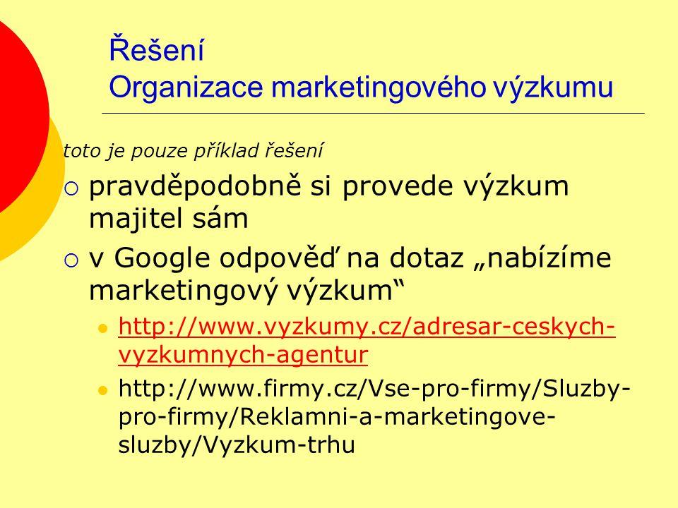 """Řešení Organizace marketingového výzkumu toto je pouze příklad řešení  pravděpodobně si provede výzkum majitel sám  v Google odpověď na dotaz """"nabíz"""