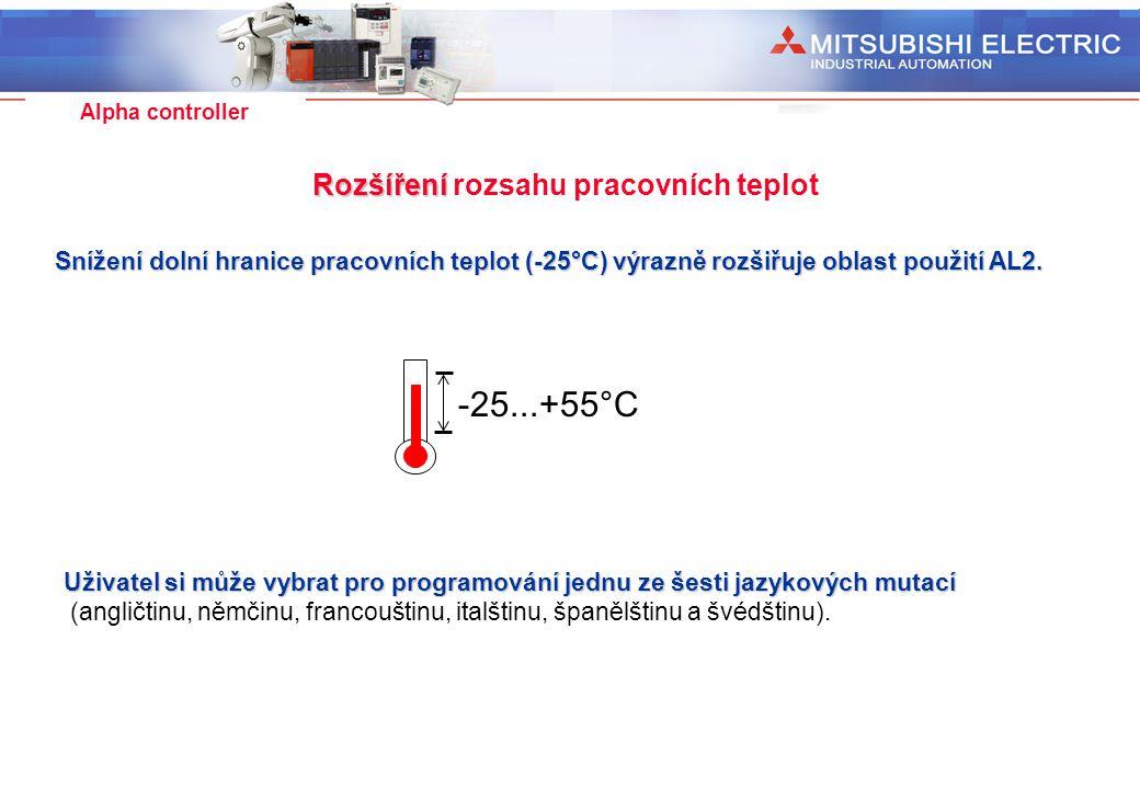 Industrial Automation Alpha controller Rozšíření Rozšíření rozsahu pracovních teplot -25...+55°C Snížení dolní hranice pracovních teplot (-25°C) výraz