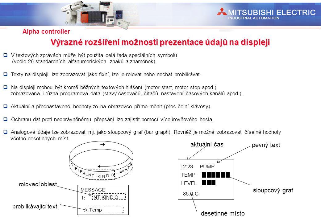 Industrial Automation Alpha controller Výrazné rozšíření možnosti prezentace údajů na displeji problikávající text NT KIND O 1: MESSAGE rolovací oblas