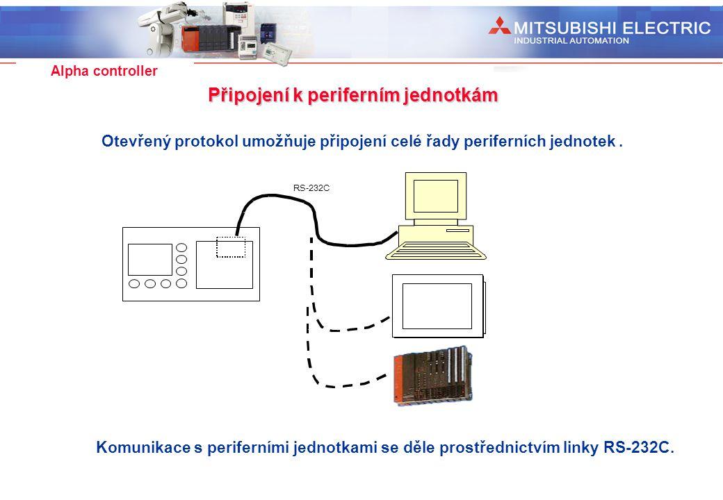 Industrial Automation Alpha controller Připojení k periferním jednotkám Otevřený protokol umožňuje připojení celé řady periferních jednotek. RS-232C K