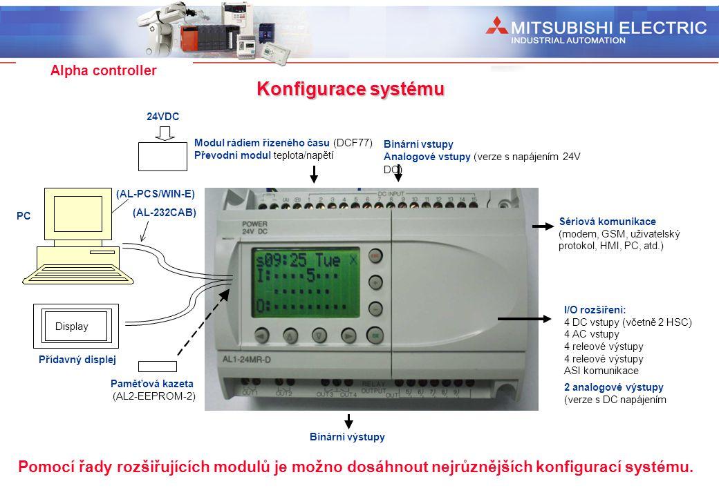 Industrial Automation Alpha controller Modul rádiem řízeného času (DCF77) Převodní modul teplota/napětí 24VDC Konfigurace systému Pomocí řady rozšiřuj