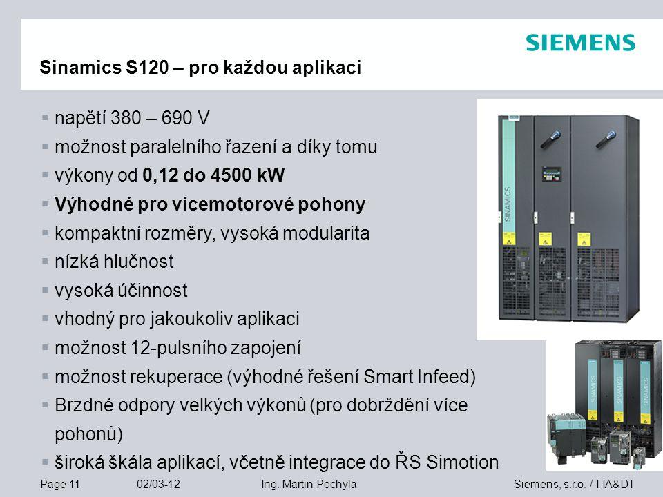 Page 11 02/03-12 Siemens, s.r.o. / I IA&DTIng. Martin Pochyla Sinamics S120 – pro každou aplikaci  napětí 380 – 690 V  možnost paralelního řazení a