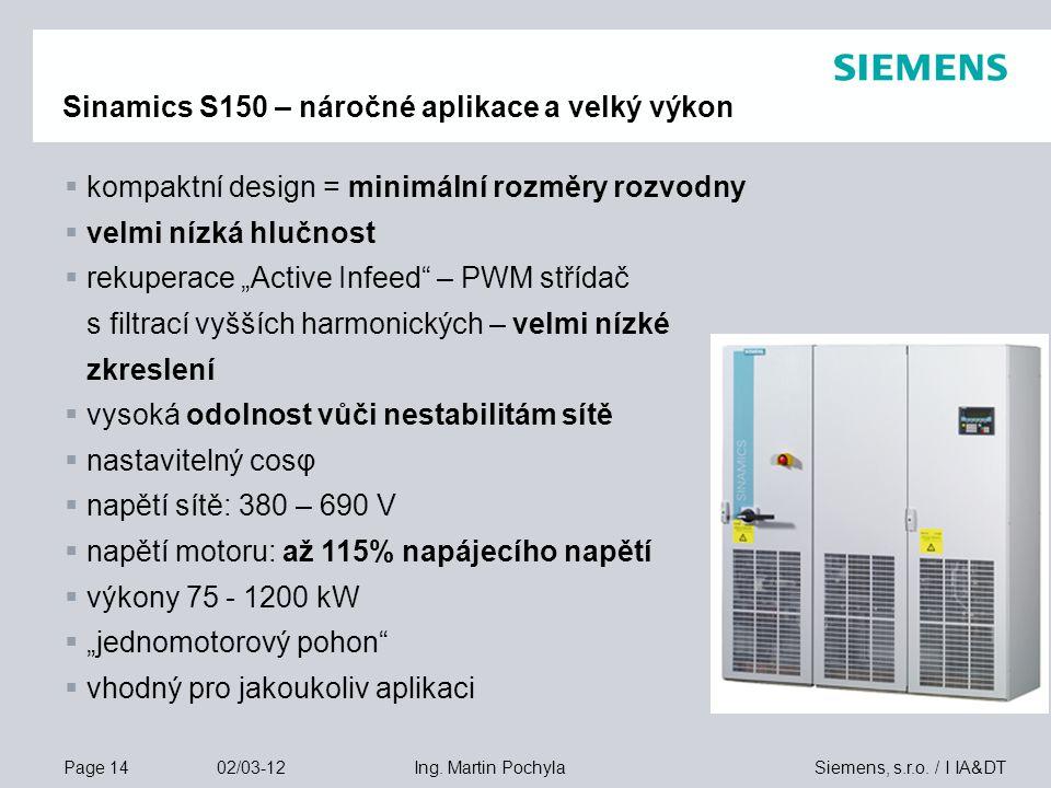 Page 14 02/03-12 Siemens, s.r.o. / I IA&DTIng. Martin Pochyla Sinamics S150 – náročné aplikace a velký výkon  kompaktní design = minimální rozměry ro