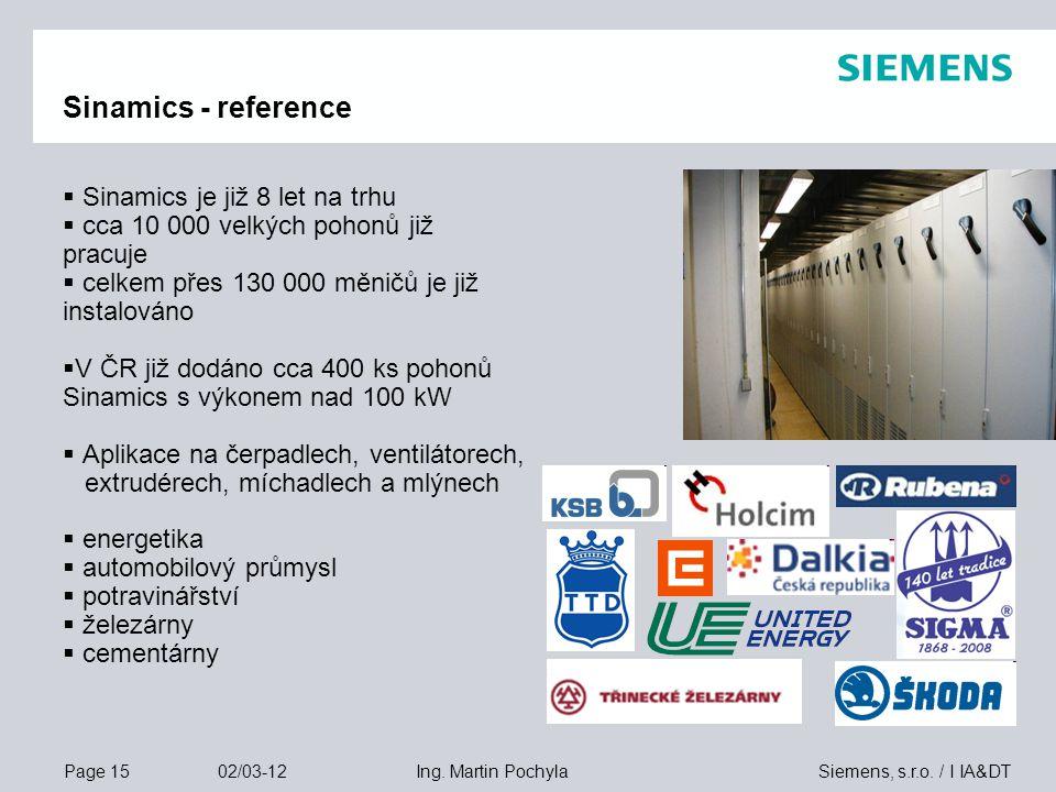 Page 15 02/03-12 Siemens, s.r.o. / I IA&DTIng. Martin Pochyla Sinamics - reference  Sinamics je již 8 let na trhu  cca 10 000 velkých pohonů již pra