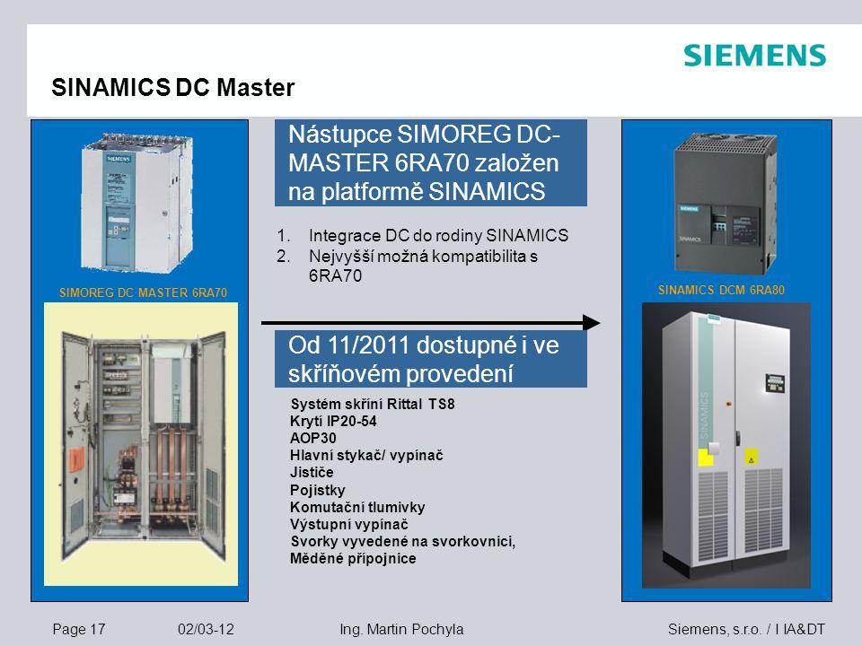 Page 17 02/03-12 Siemens, s.r.o. / I IA&DTIng. Martin Pochyla SINAMICS DC Master SIMOREG DC MASTER 6RA70 SINAMICS DCM 6RA80 Systém skříní Rittal TS8 K