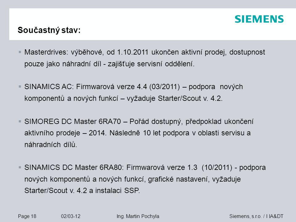 Page 18 02/03-12 Siemens, s.r.o. / I IA&DTIng. Martin Pochyla Součastný stav:  Masterdrives: výběhové, od 1.10.2011 ukončen aktivní prodej, dostupnos