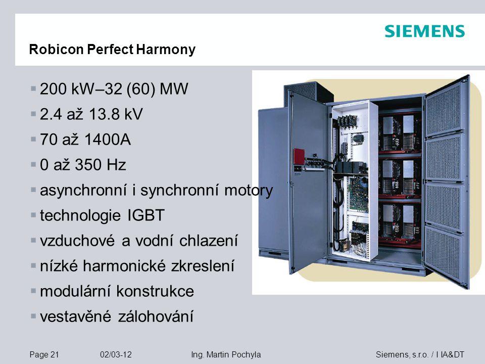 Page 21 02/03-12 Siemens, s.r.o. / I IA&DTIng. Martin Pochyla Robicon Perfect Harmony  200 kW–32 (60) MW  2.4 až 13.8 kV  70 až 1400A  0 až 350 Hz