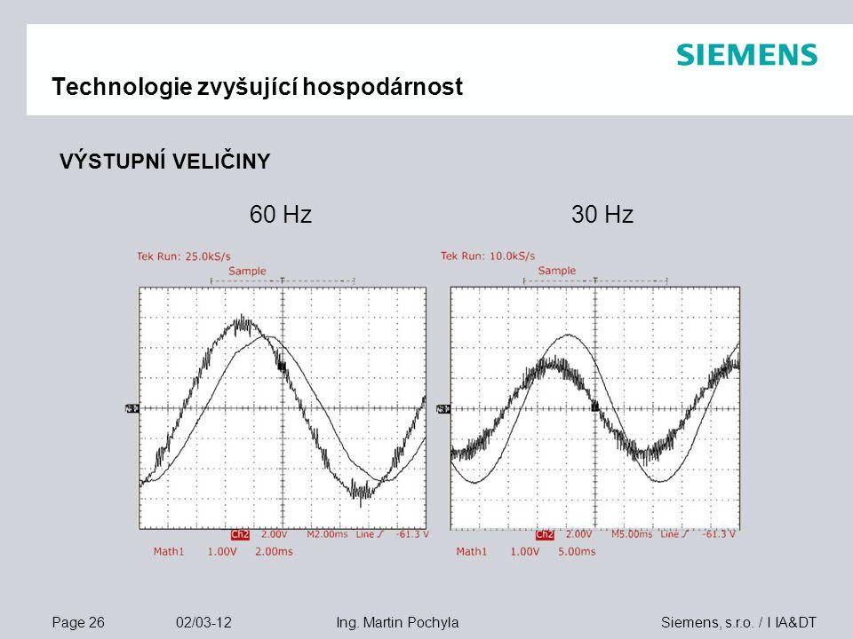 Page 26 02/03-12 Siemens, s.r.o. / I IA&DTIng. Martin Pochyla Technologie zvyšující hospodárnost VÝSTUPNÍ VELIČINY 60 Hz30 Hz