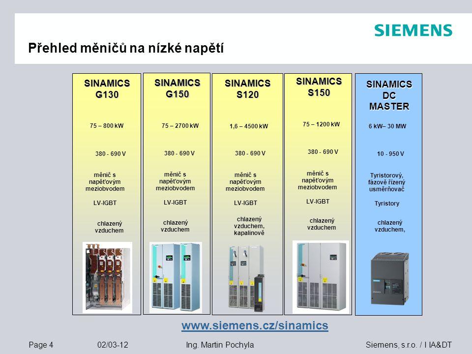 Page 4 02/03-12 Siemens, s.r.o. / I IA&DTIng. Martin Pochyla Přehled měničů na nízké napětí chlazený vzduchem 380 - 690 V měnič s napěťovým meziobvode