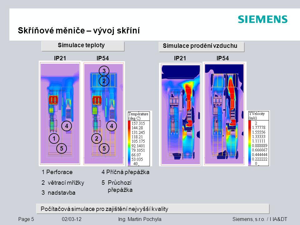 Page 5 02/03-12 Siemens, s.r.o. / I IA&DTIng. Martin Pochyla Simulace teploty 4 Příčná přepážka 5Průchozí přepážka 4 2 3 1 1 Perforace 3nadstavba 2vět