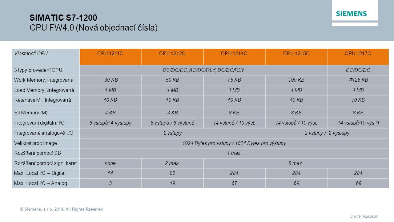 © Siemens, s.r.o. 2014. All Rights Reserved. Ondřej Rakušan SIMATIC S7-1200 CPU FW4.0 (Nová objednací čísla) Vlastnosti CPUCPU 1211CCPU 1212C CPU 1214