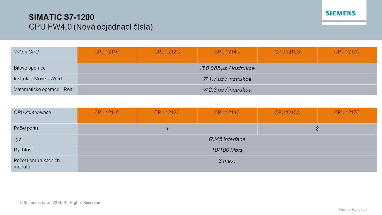 © Siemens, s.r.o. 2014. All Rights Reserved. Ondřej Rakušan SIMATIC S7-1200 CPU FW4.0 (Nová objednací čísla) Výkon CPUCPU 1211CCPU 1212C CPU 1214C CPU