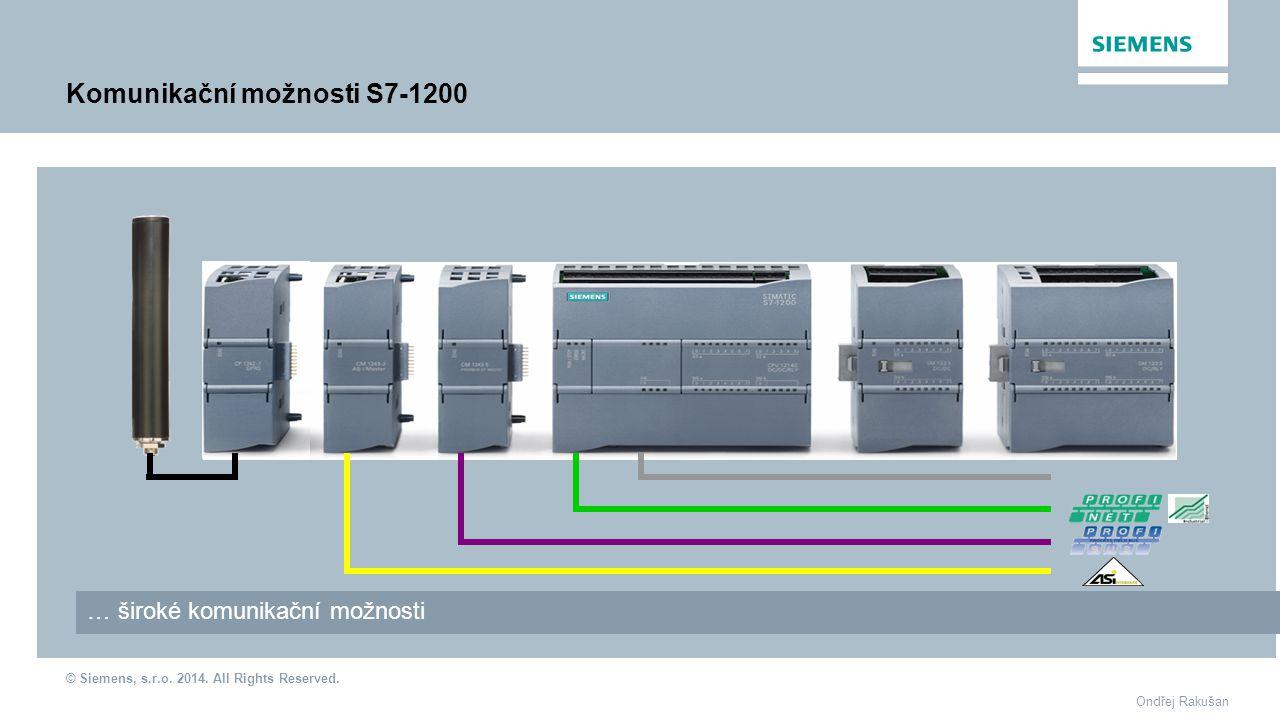 © Siemens, s.r.o. 2014. All Rights Reserved. Ondřej Rakušan Komunikační možnosti S7-1200 … široké komunikační možnosti Point-to-Point, USS, Modbus RTU