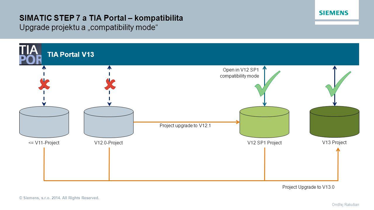 "© Siemens, s.r.o. 2014. All Rights Reserved. Ondřej Rakušan SIMATIC STEP 7 a TIA Portal – kompatibilita Upgrade projektu a ""compatibility mode"" <= V11"