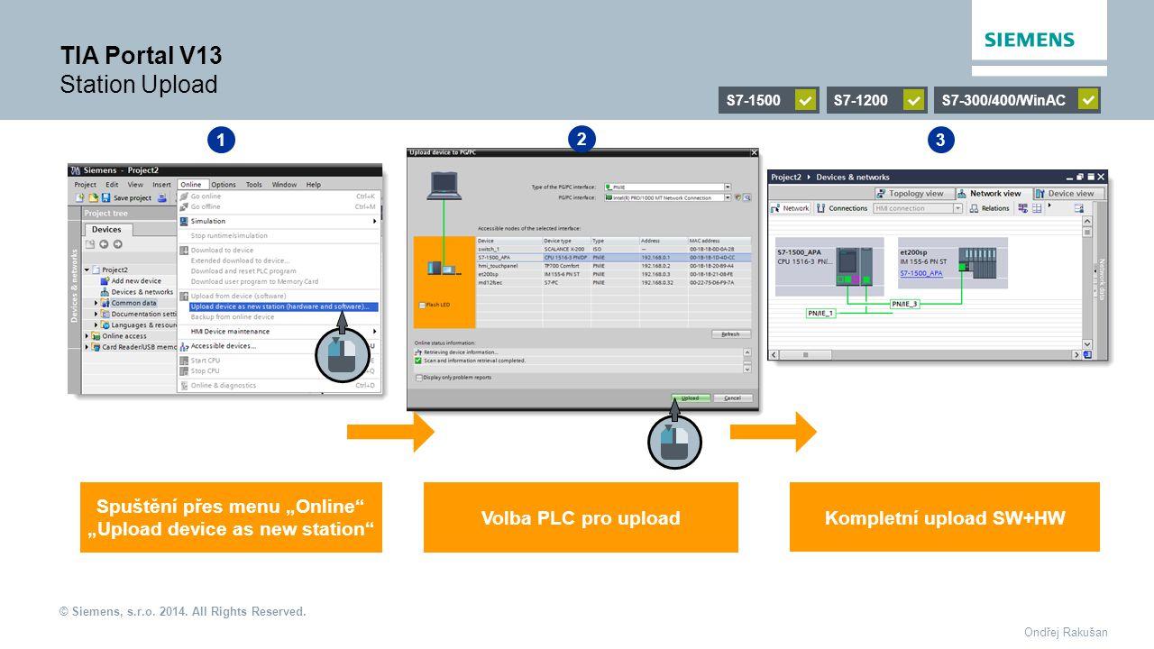 """© Siemens, s.r.o. 2014. All Rights Reserved. Ondřej Rakušan TIA Portal V13 Station Upload S7-1500S7-1200S7-300/400/WinAC 1 2 3 Spuštění přes menu """"Onl"""