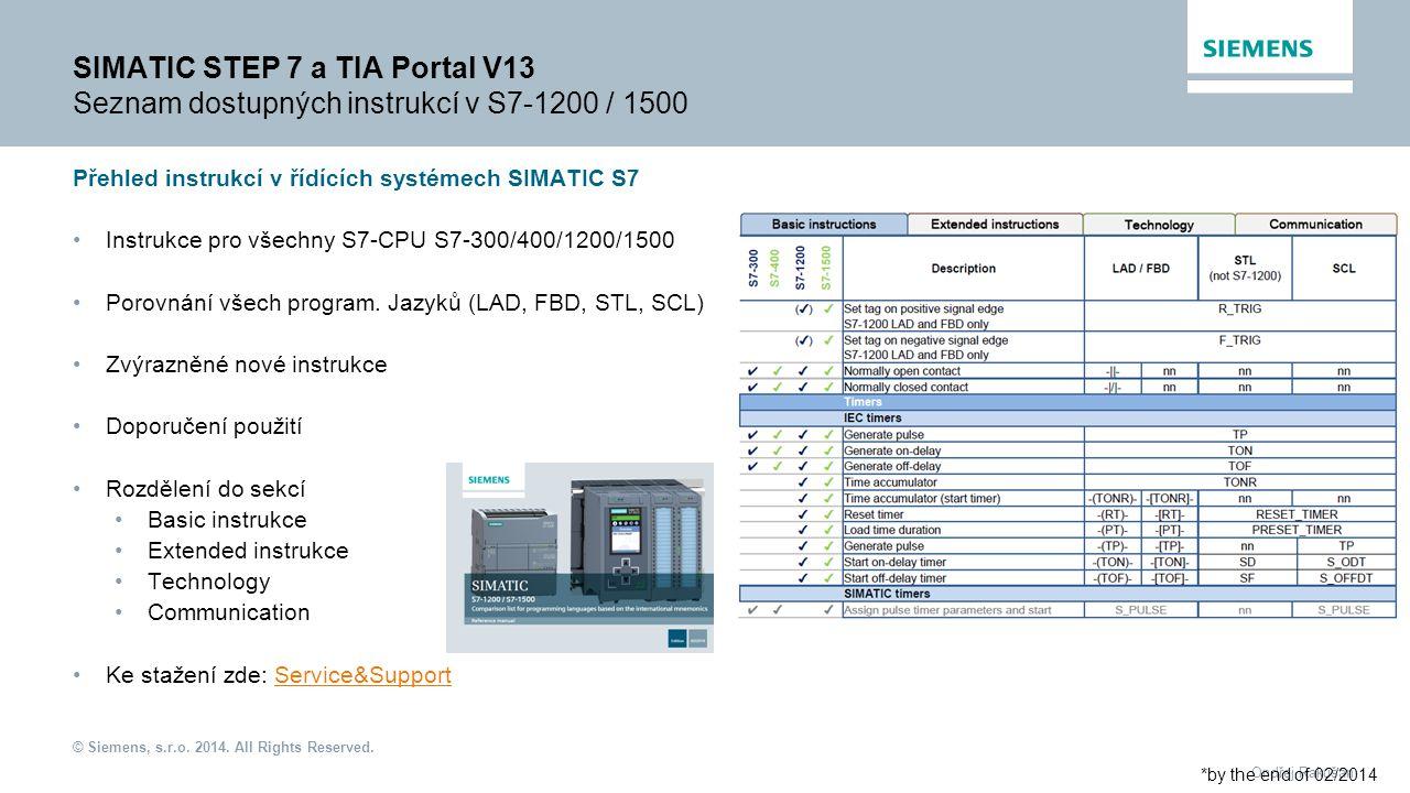 © Siemens, s.r.o. 2014. All Rights Reserved. Ondřej Rakušan SIMATIC STEP 7 a TIA Portal V13 Seznam dostupných instrukcí v S7-1200 / 1500 Přehled instr