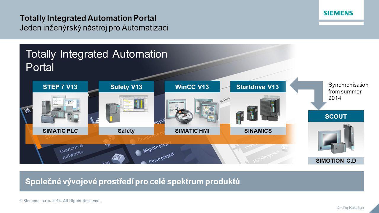 © Siemens, s.r.o. 2014. All Rights Reserved. Ondřej Rakušan Totally Integrated Automation Portal Jeden inženýrský nástroj pro Automatizaci WinCC V13 S