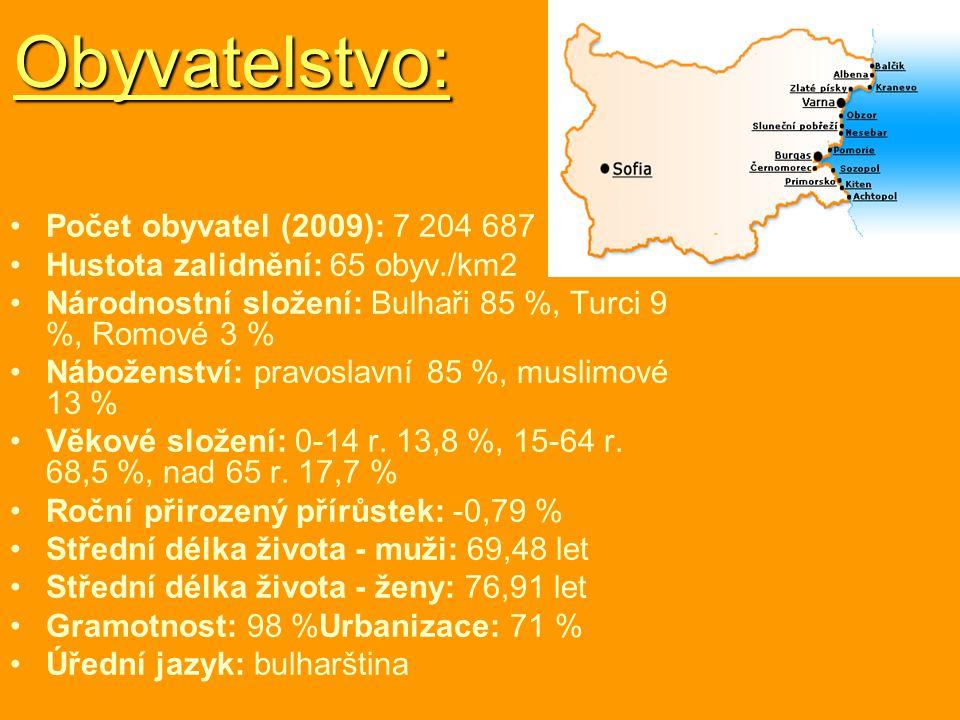 Obyvatelstvo: Počet obyvatel (2009): 7 204 687 Hustota zalidnění: 65 obyv./km2 Národnostní složení: Bulhaři 85 %, Turci 9 %, Romové 3 % Náboženství: p